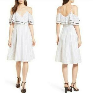 Anthro J.O.A Cold Shoulder Striped Midi Dress M